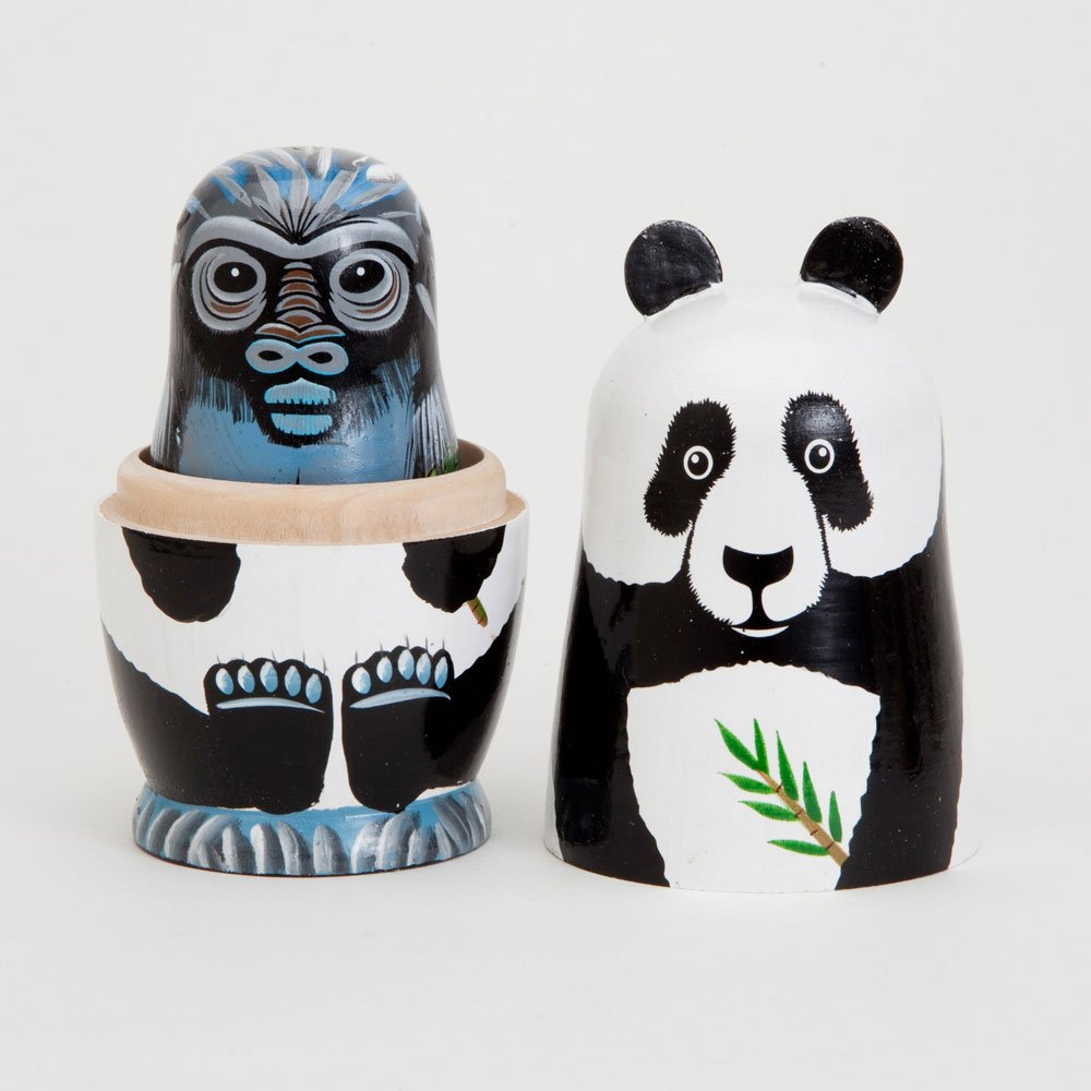 Bits and Pieces - Nesting Endangered Species-Hand Painted Wooden Nesting Dolls - Set of 5 Dolls from 5.5'' Tall by Bits and Pieces (Image #3)