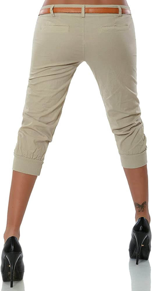 Damen Boyfriend Stoffhose Hüfthose Capri Hose 3//4 Shorts Bermuda Stoffhose
