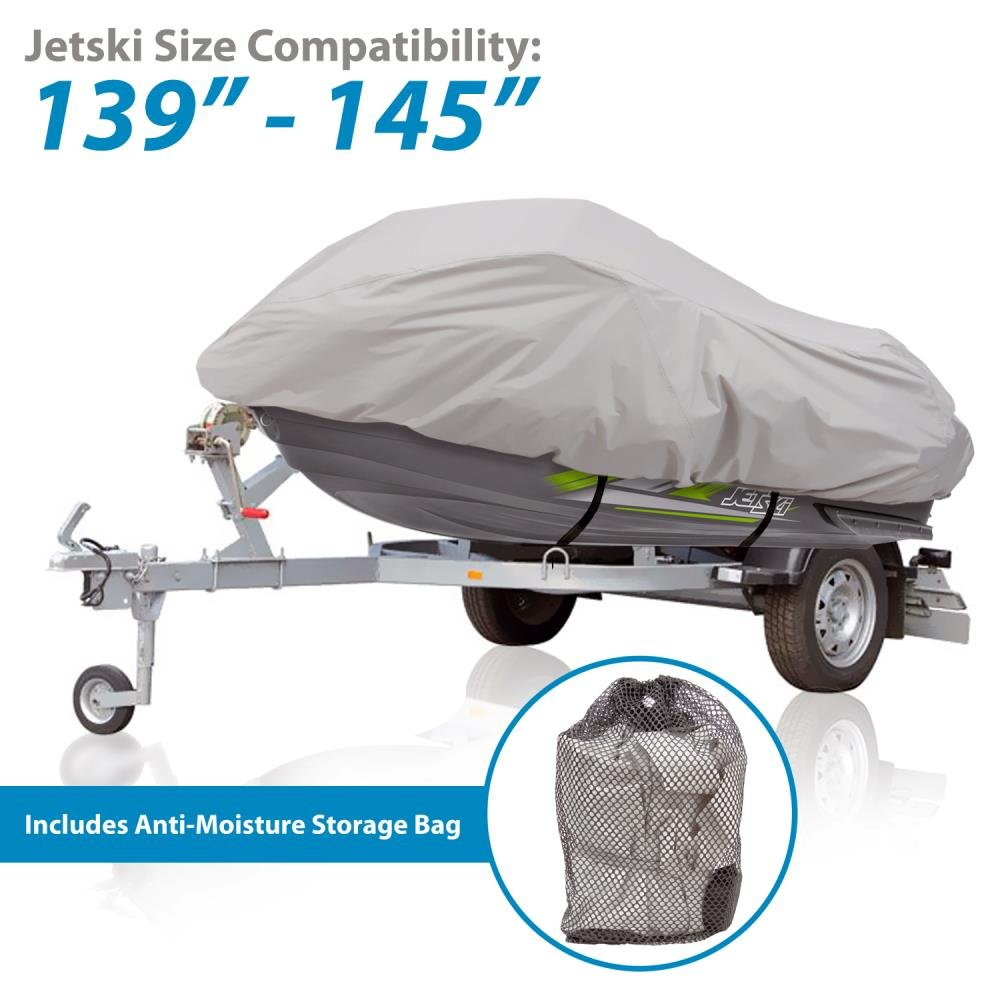 Waterproof Heavy Duty Jetski Cover 145/'/' Inch Mildew Resistant Watercraft Storage Cover with Adjustable Strap /& Elastic Cord for Tight Custom Fit Marine Grade Protection Pyle PCVJS14 139/'/'