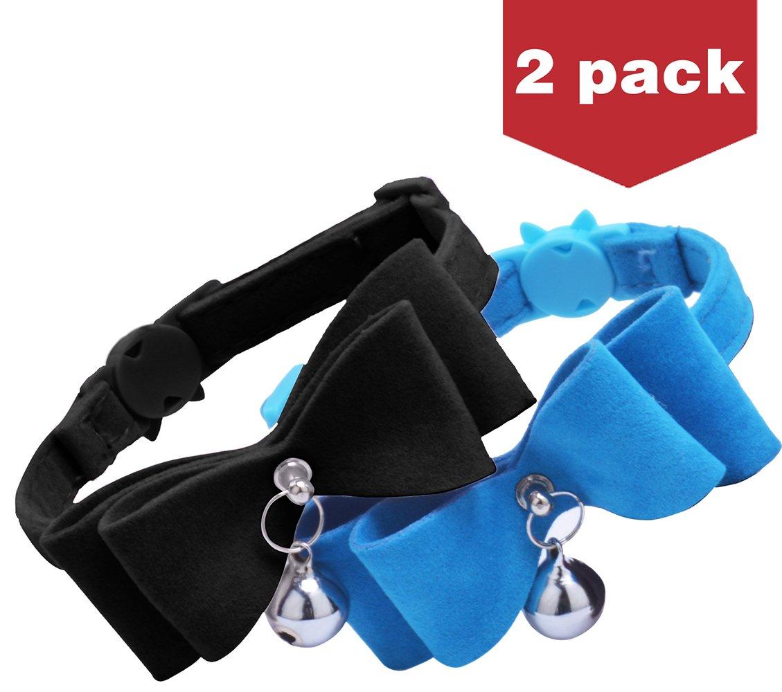 BINGPET 2Pcs Breakaway Bowtie Cat Collar with Bell Blue & Black