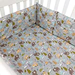Brandream-Baby-Breathable-Crib-Bumper-Pads-for-Standard-Cribs-Machine-Washable-Padded-Crib-Liner-100-Soft-Cotton-4-PiecesGray-Woodland-Bear-Fox-Arrow