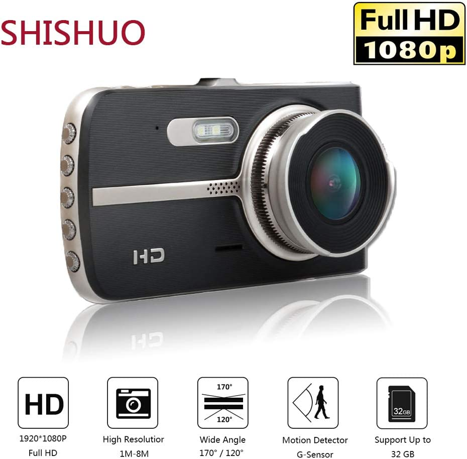 Motion Detect Upgraded 4 Inch Big Screen 1080P HD IPS Display Driving Recorder Cameras with 16GB Micro SD Card Parking Monitoring G-Sensor SHISHUO Dash Cam Front and Rear LED Compensation