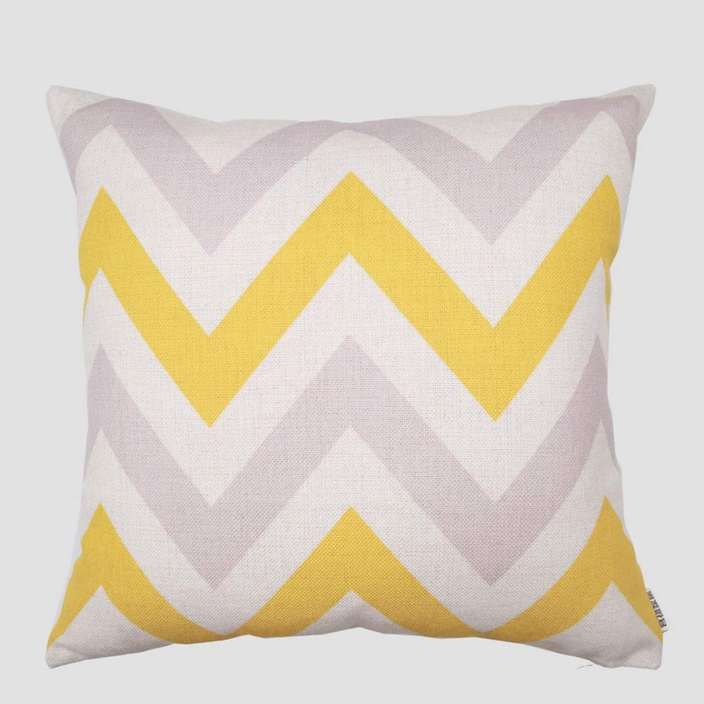 Cotton and Linen Pillow Cushion Simple Nordic Geometric Yellow Original Design Sofa Living Room Triangle American Waist Pillow with Pillow Core 4545 (Color : E)
