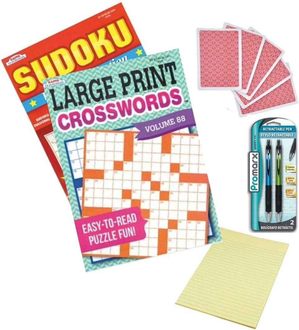 Playing Cards Pad of Paper and Pens Large Print Crossword Puzzle Books for Adults Activity Pack with Sudoku 2-Pack