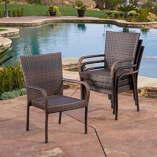 Christopher Knight Home Outdoor PE Wicker Stackable Arm Club Chairs (Set of 4) For Sale