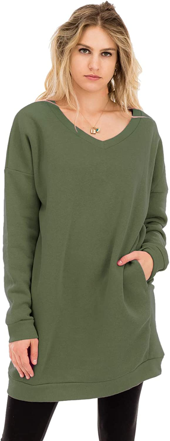 NANAVA Womens Casual Loose Fit Long Sleeves Over-Sized Sweatshirts