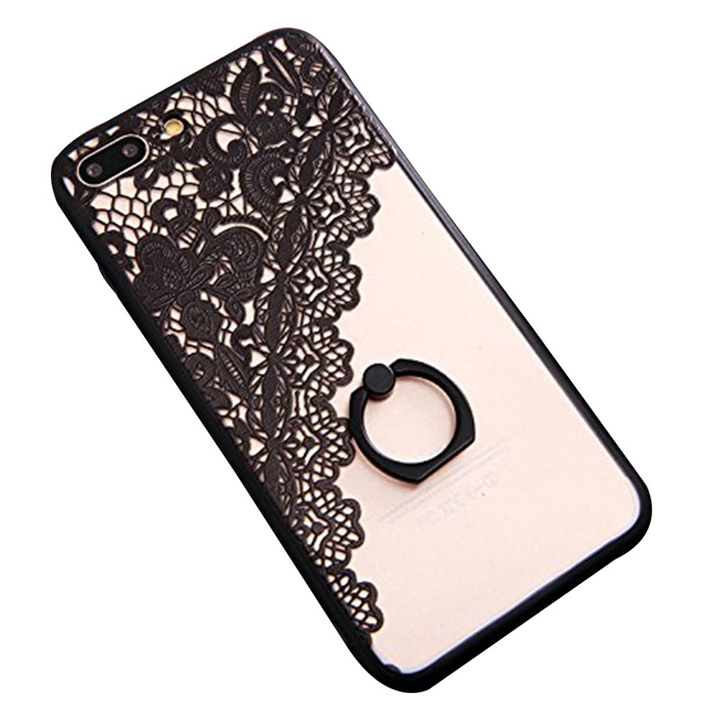 JAZ Finger Ring Stand case, Ultra Thin Hard PC Back [3D Relief Sculpture][Silicone]Case Cover With 360 Rotating Ring Grip/Stand Holder/Shockproof For iPhone 7Plus(Black) (flower) XGrand