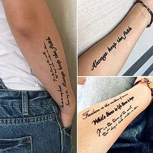 Tatuaje Amy Tatuaje Pegatinas Impermeables Hombres Y Mujeres Simulación Coreana Duradera Sánscrito Letras Inglesas Sexy Clavícula Flor Brazo Tatuaje: Amazon.es: Belleza
