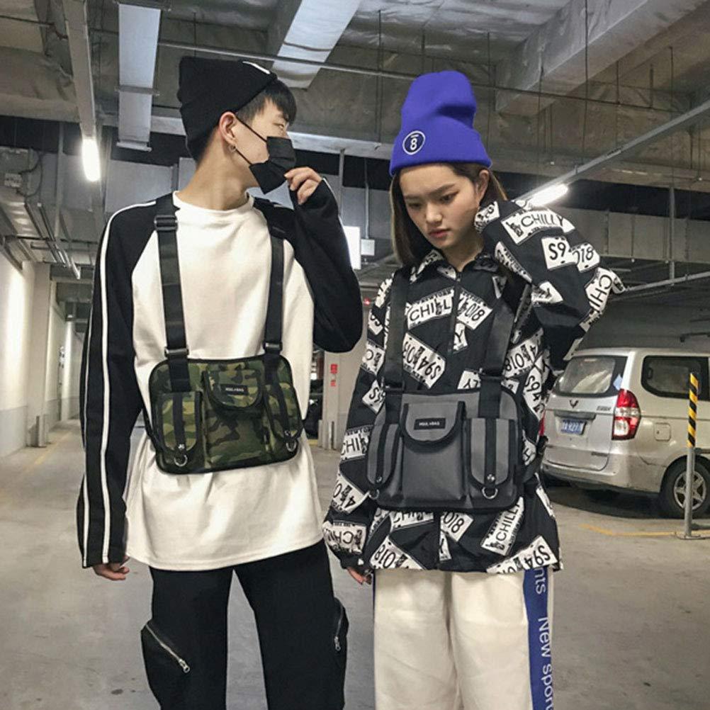 30 * 3 * 23cm BYJIN Hombres Mujeres Bolso Chest Rig Bag Hip Hop Streetwear Hombres Funcional Ri/ñonera Ajustable Bolsillos Chaleco
