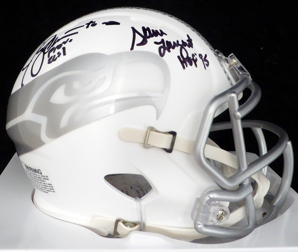 "Jim Zorn To Steve Largent ""HOF 95"" Autographed Seattle Seahawks White Ice Mini Helmet Beckett BAS"