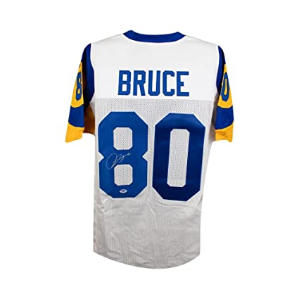 7b36ae95 Isaac Bruce Autographed St Louis Rams Custom White Football Jersey ...