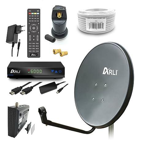 Digital Camping Sat Anlage 60 cm Spiegel inkl. ARLI AH1 HD Receiver + Single LNB + 10m Kabel (Dunkelgrau / Anthrazit)