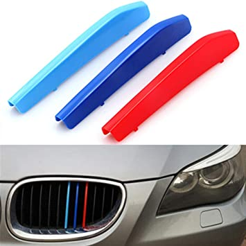 //////M-Colored Stripe Grille Insert Trims Front Grill Stripes Covers For 2004-2010 E60 5 Series 525i 528i 530i 535i 540i 545i 550i M5 Front Center Kidney Grilles 11 Beams