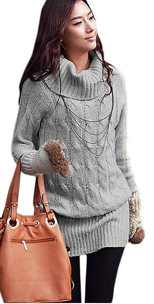 Mikos Damen Pullover Pulli Longpullover Lang Rollkragenpullover 36 38 40 (642)