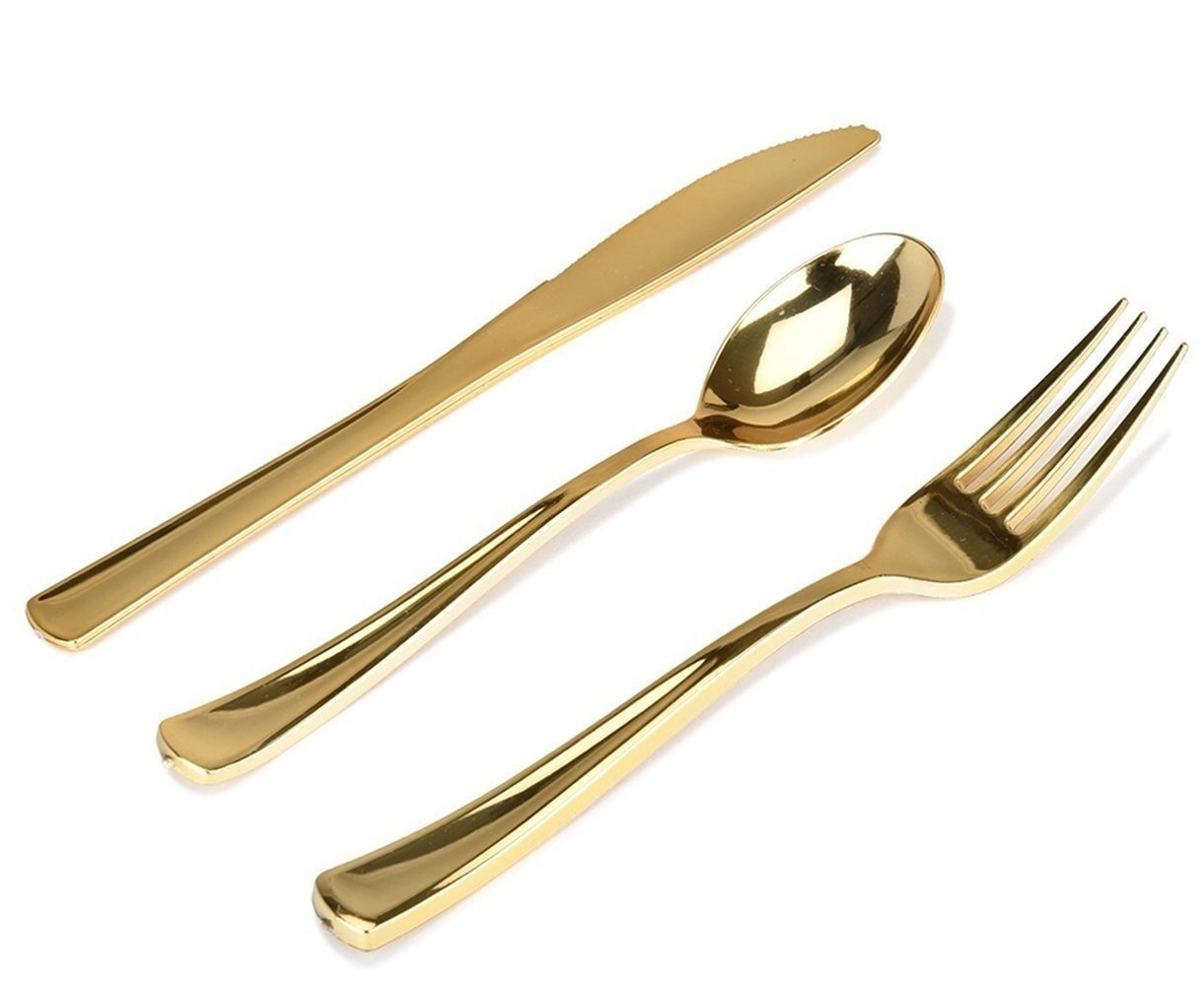 300 Gold Plastic Silverware Set - Elegant Plastic Cutlery- Disposable Flatware - 100 Plastic Forks, 100 Plastic Spoons, 100 Plastic Knives Heavy Duty Silverware for Party Bulk - Stock Your Home