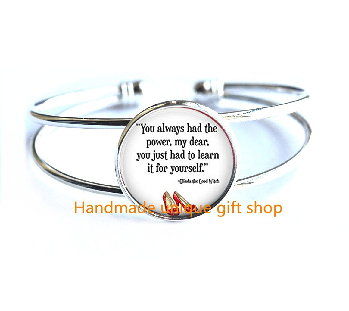 Delicate Bracelet,Fashion Bracelet,You Always Had the Power Bracelet,Quote Jewelry,Book Quote Glass Dome Bracelet Jewelry Bracelets-RC161