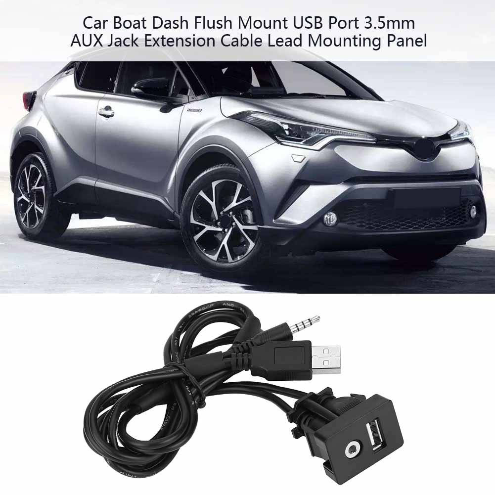 Marine Universal 1M Car USB Port 3.5mm AUX Extension Cable Lead Mounting Panel Male Jack for Toyota 3.5mm AUX Extension Cable Vehicle Motorcycle Bike Car Boat