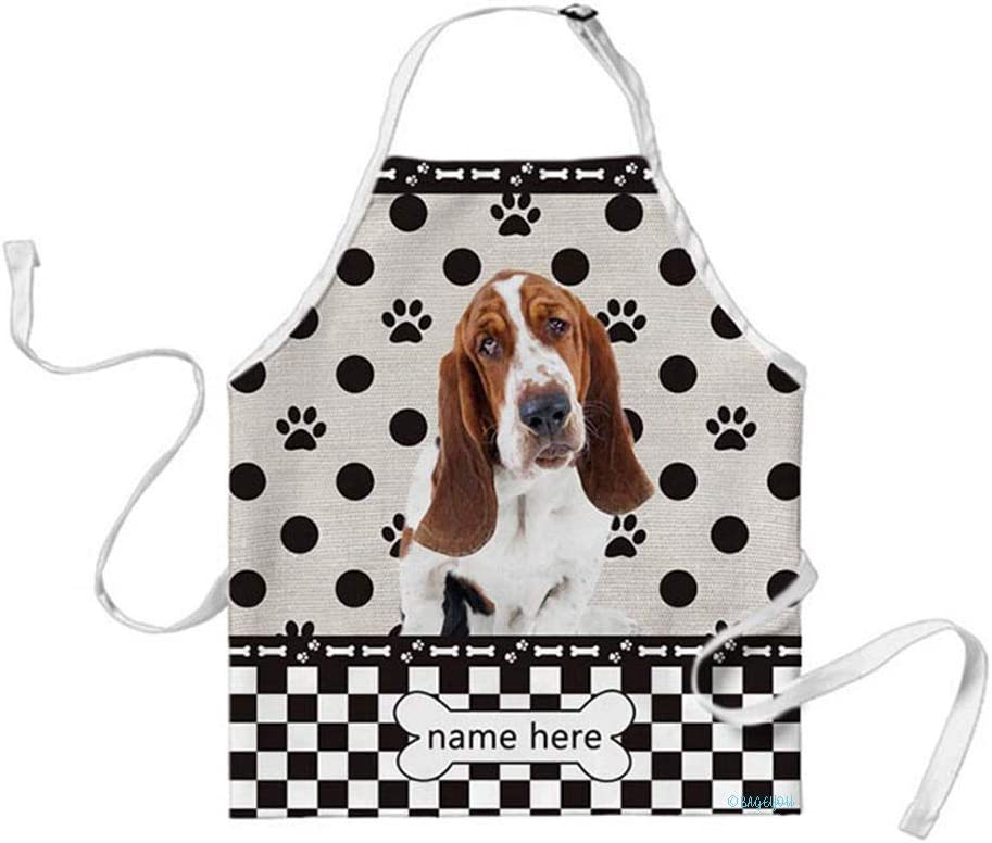 BAGEYOU Custom Dog Name Polka Dots Apron Basset Hound Buffalo Check Plaid 29x34 Inch
