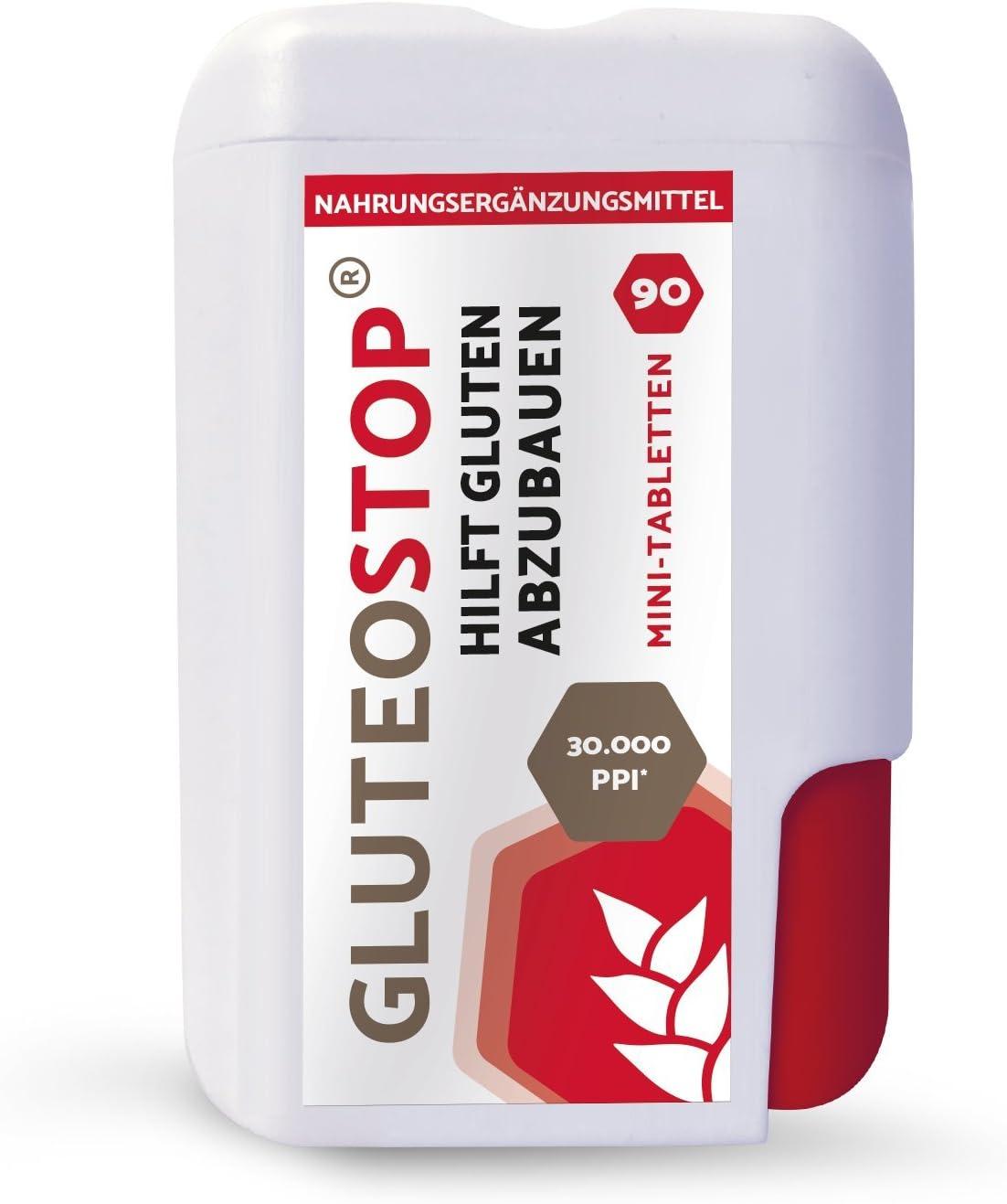 GluteoStop® - ayuda a descomponer el gluten - 90 mini tabletas - sensibilidad al gluten - dieta sin gluten - enzima gluten