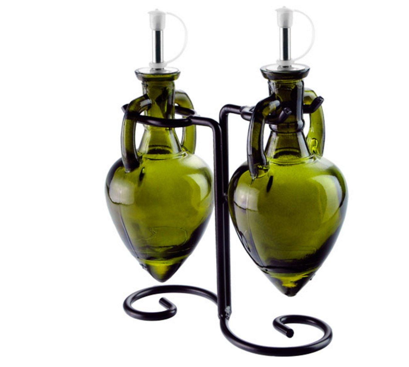 Oil and Vinegar Dispenser, Olive Oil Bottles or Soap Dispenser Bottle G11FR Vintage Green Amphora Style Bottle Set with Stainless Steel Pour Spouts & Corks. Black Metal Vintage Swirl Rack Included.