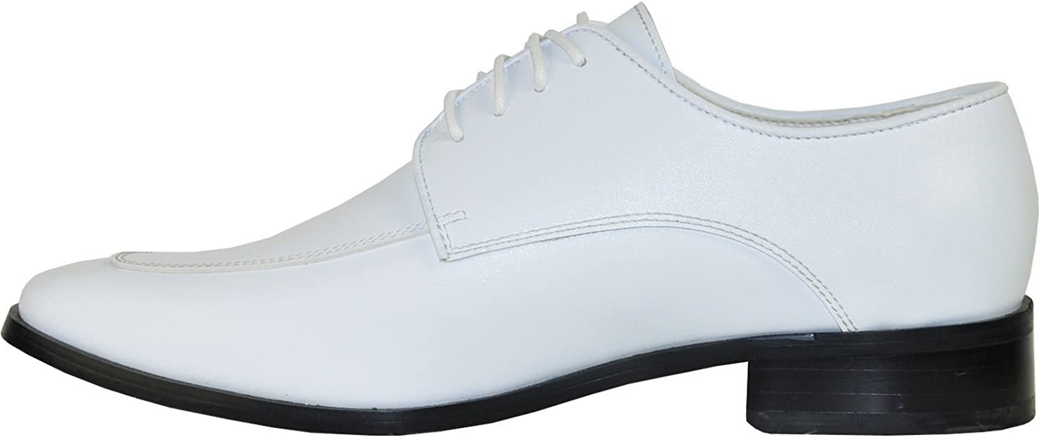 Bravo Vangelo Mens Tuxedo Shoes Tux-3 Fashion Square Toe with Wrinkle Free Material White Matte
