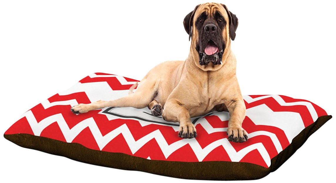 P XLarge 40  x 50 Kess InHouse Chevron Red Fleece Dog Bed, 30 by 40Inch, Monogram LetterU