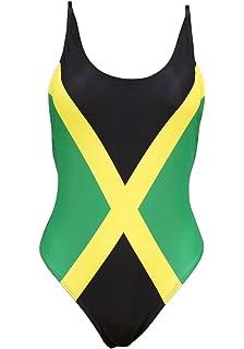 939bf4ab053b7 Women's Fashion One Piece Thong Bathing Suit Caribbean Jamaica Flag  Monokini Swimsuit Swimwear Green