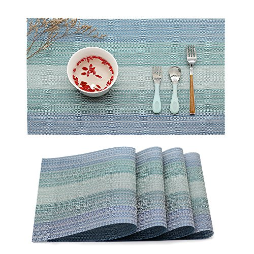 Placemat Table Mats: Heat Stain and High Temperature Resistant; Anti-Skid Washable Non-slip Insulation; Crossweave Woven Textilene Vinyl PVC for Kitchen and Dining Set of 4(Blue)
