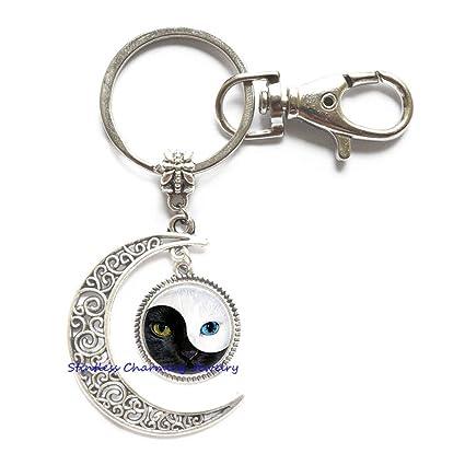 Yin Yang Llavero de luna de gato, llavero de gato, joyería ...