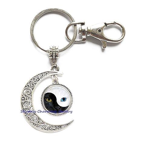 Amazon.com: Yin Yang - Llavero de gato, llavero de luna de ...