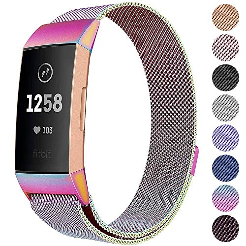 CAVN Metal Bands Compatible for Fitbit Charge 3 / Charge 3 SE Bands Women Men Small Large, Replacement Stainless Steel Accessory Watch Wrist Straps