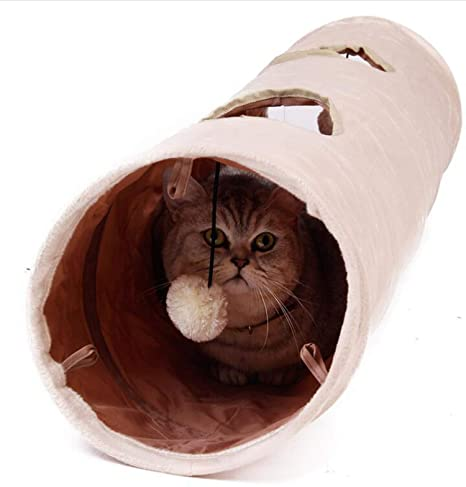 PENVEAT Túnel para Mascotas, Largo 120 cm, 2 Agujeros, para Gatos, Cachorros
