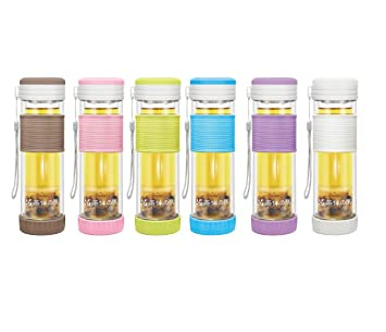 teachado - Portable Real Cristal de borosilicato Botella de ...
