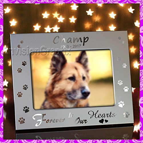 (5x7 Personalized Custom Engraved Pet Dog Memorial Metal Picture Frame Forever in Our Hearts (Brushed Silver))