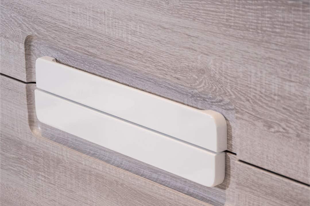 OrionShop Mobile Bagno Sospeso Demetra da 80cm Rovere Chiaro con Lavabo Specchio e Lampada LED Inclusi