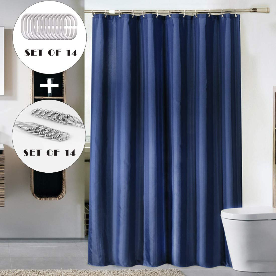 CDGroup Mildew Resistant Shower Curtain Waterproof Bathroom Eco-Friendly Shower Curtain Liner Come with 2 Set of Hooks Bathroom Home Office Holiday Wall Decoration Navy Blue in 47 X 71