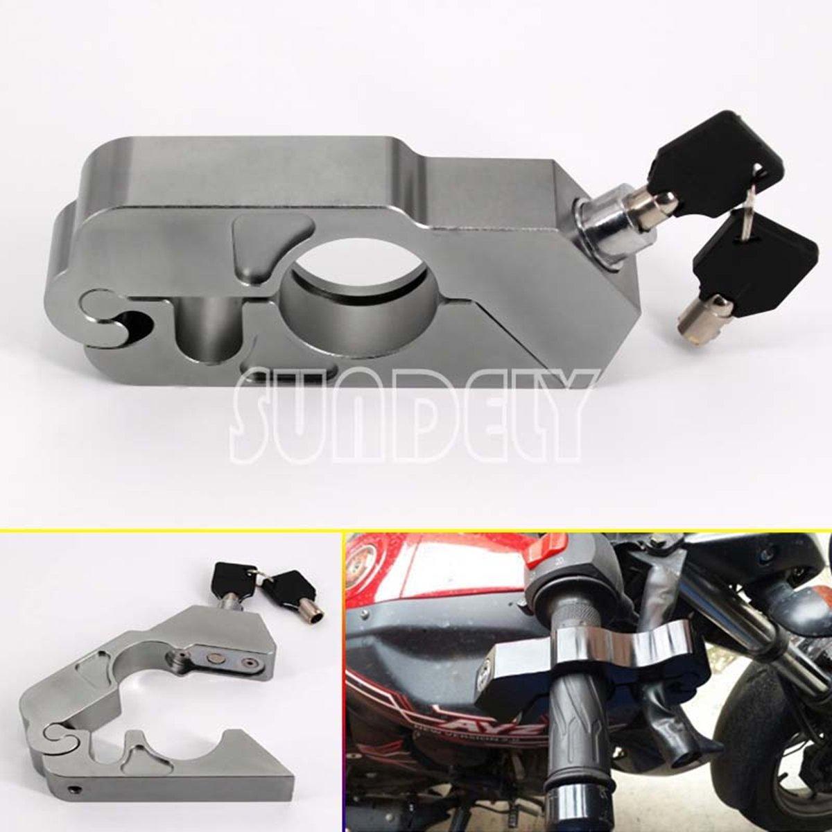 SUNDELY Custom Motorcycle Handlebar Grip Brake Lever Security Caps-Lock Anit Theft Gray 460244