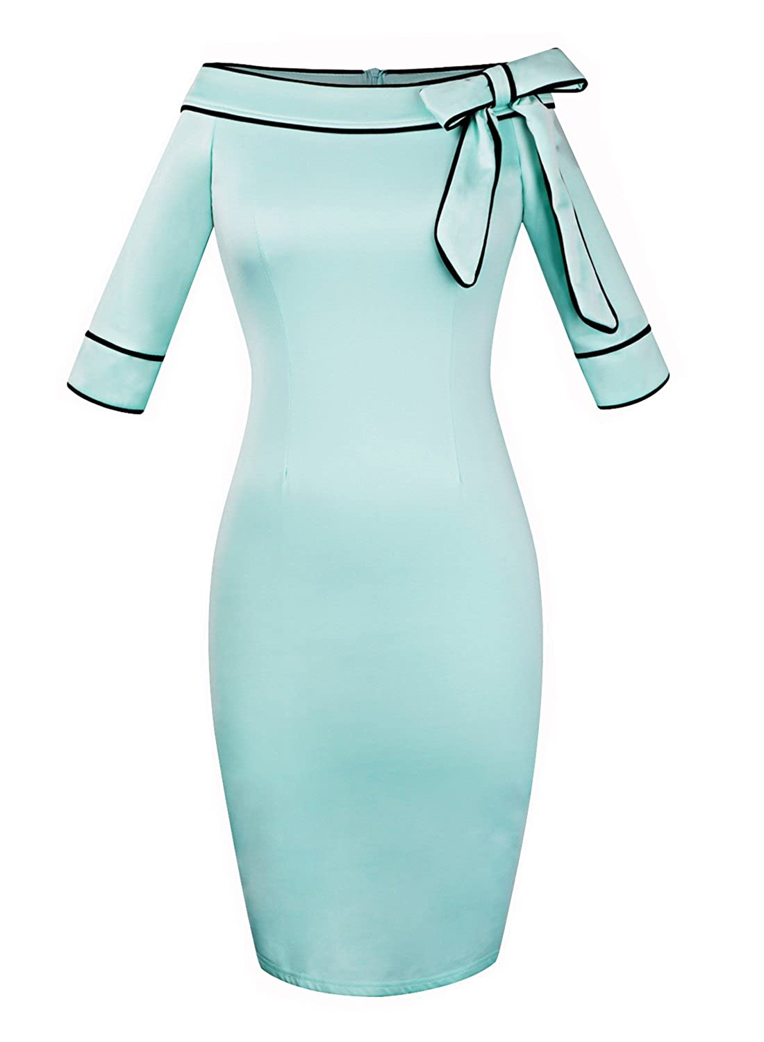 Women's Vintage Bow Party Cocktail Work Stretch Bodycon Pencil Dress