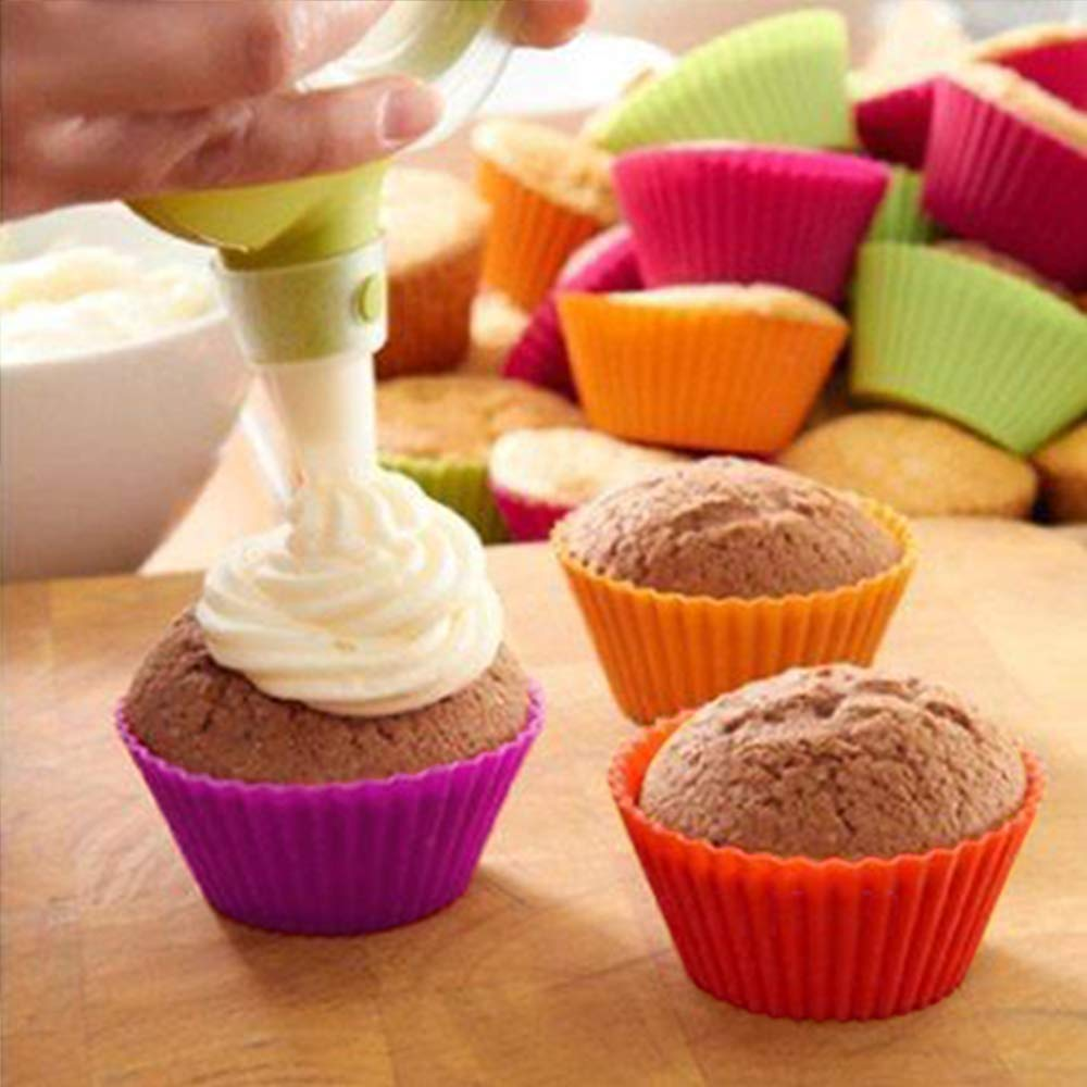 HEHALL 40pcs Silicone Muffin Molds Cupcake Baking Cups Pans Liners, 8 Colors by HEHALI (Image #6)