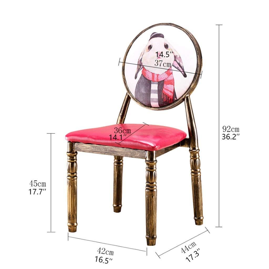 XIAOLI 2 st modern minimalistisk läder matstol med metall järn ben konst hem vardagsrum hotell restaurang köksstolar (färg: Röd-D) Red-c