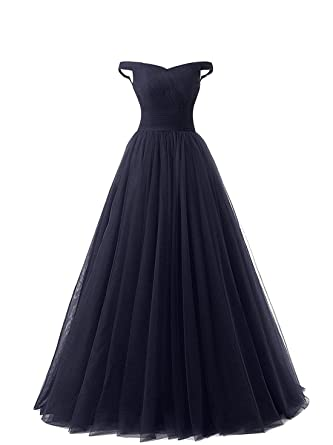 Womens Long Burgundy Prom Dress Off the Shoulder Tulle Formal Party Evening Gown (8,