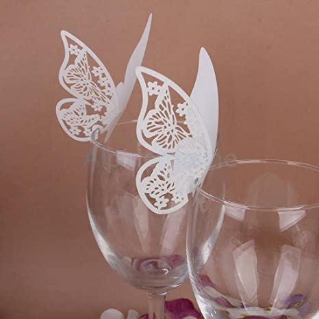 Amazon 50 Elegant Butterfly Wine Glass Place Cards Wedding