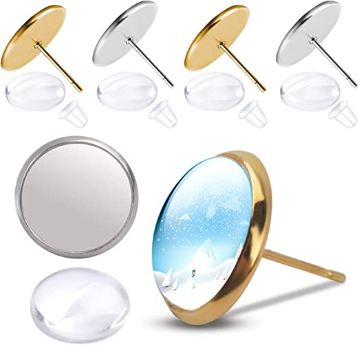 100//500 18K Gold Stainless Steel Earring Posts Studs Settings Bezels Cabochons