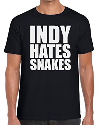86582a57c Funky NE Ltd Indy Hates Snakes - Indiana Jones Inspired Tshirt - 100%  Cotton - Small to XXL - 10 Colours - Great Gift Idea: Amazon.co.uk: Clothing