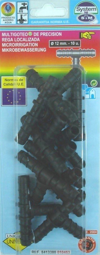 Negro S/&M 010453 Te de Goteo 12 mm-Bl/íster de 10 Unidades