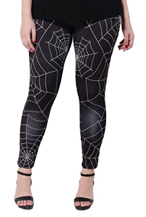 Bigood Legging Grande Taille Femme Pantalon Minceur Motif Toile d Araignée  Halloween Carnaval Tour Taille 09a293fa3aa