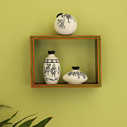ExclusiveLane \'The Framed Pots\' Wooden Wall Shelf With Warli Hand ...