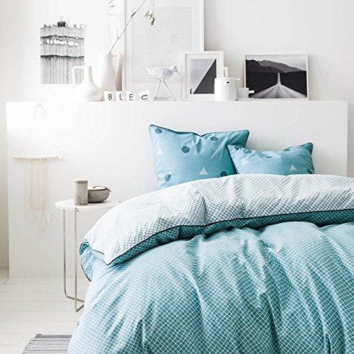 HANKO Bleu - Parure de lit pour 2 personnes : Housse de couette 240x220 cm + Taies d'oreiller 63x63 cm