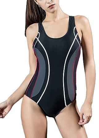 0c61e33abbe Romacci Women Professional One Piece Swimsuit Sports Swimwear Contrast Bathing  Suit Swimming Suit