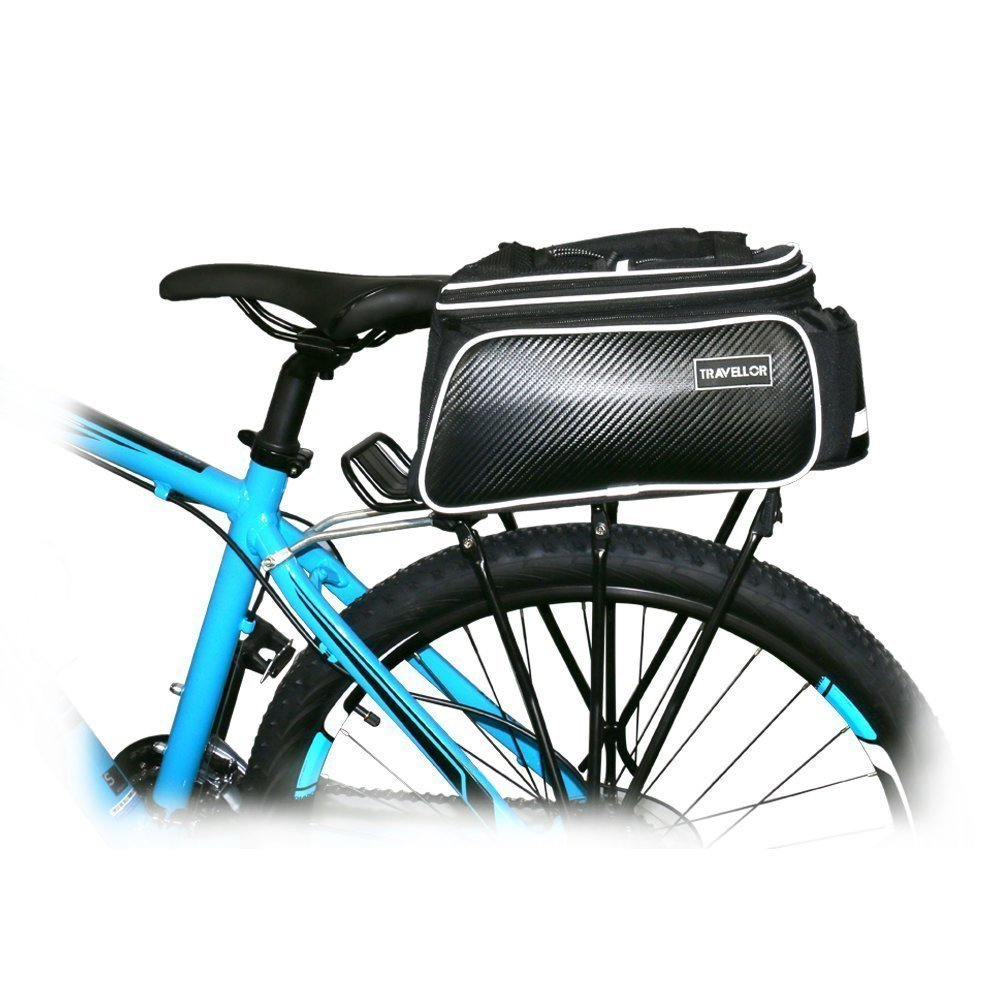 Bike Rear Bag Cycling Rack Rear Bag Zipper Pockets Bottle Case Bike Accessories for Road Mountain Bikes Black